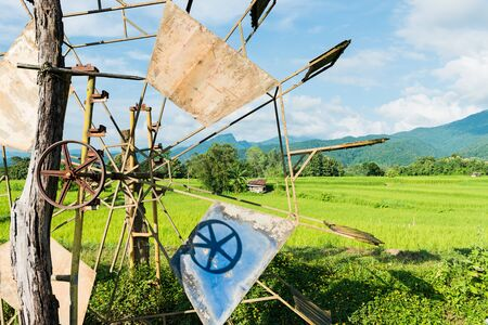 Turbine baler in rice farm Thailand countryside Stock Photo