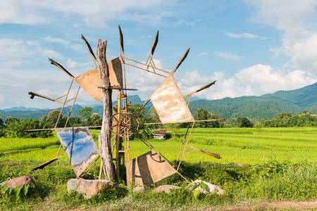baler: Turbine baler in rice farm Thailand countryside Stock Photo