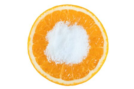 cleave: Orange fruit round slice with salt isolated on white background