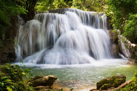 khamin: Beautiful waterfall in the national park forest at Huai Mae Khamin Waterfall, Kanchanaburi Thailand Stock Photo