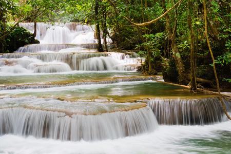Beautiful waterfall in the national park forest at Huai Mae Khamin Waterfall, Kanchanaburi Thailand Stock Photo