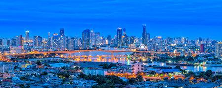 Landscape panorama view of Bangkok cityscape at nighttime, THAILAND