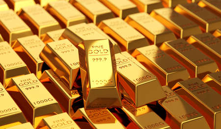 3d rendering Stack of gold bars 1000 grams. financial concepts, background concepts, closeup view of stacks of gold bars, 3D illustration. Banco de Imagens