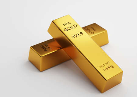 3d rendering Two gold bars 1000 grams on a white background. financial and Banking business concepts, background concepts,  3D illustration.