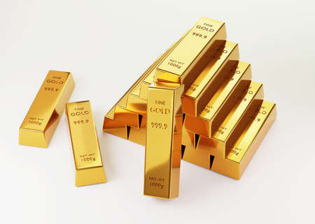 3d rendering Stack of gold bars 1000 grams  on a white background. financial and Banking business concepts, background concepts,  3D illustration.