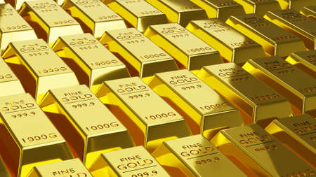 3d rendering Stack of gold bars 1000 grams. financial concepts, background concepts, illustration.