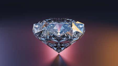 3d Render White diamond jewelry on backlight background. 3D  illustration.