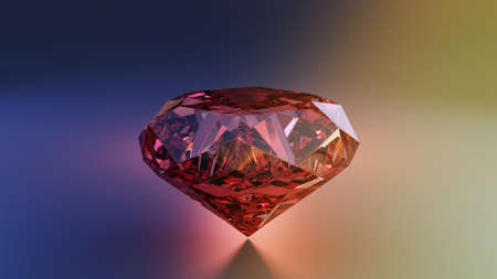 3d Render Red diamond jewelry on backlight background. 3D  illustration.