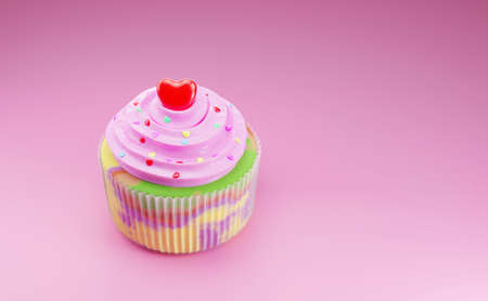 Beautiful colorful cupcakes with a red heart-shaped topping on a pink background. 3D rendering,