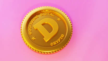 Cryptocurrency Dogecoin concept. Gold Dogecoin on a pink background.3D illustration, 3D rendering, cryptocurrency, dogecoin