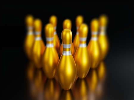 3d rendering-Group of Gold Bowling Pins on black background.