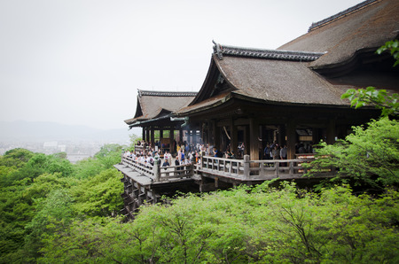 Kiyomizu Dera buddhist temple in Kyoto, Japan, The temple is\ part of the Historic Monuments of Ancient Kyoto