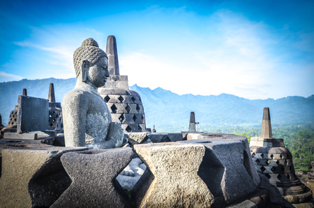 pilgrim journey: Borobudur Temple in Java, Indonesia Stock Photo