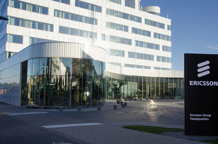 Stockholm, Sweden - June 29 2017. A view of one of the buildings used by the multinational networking and telecommunications equipment and services company Ericsson as their headquarters in Kista, a northern suburb to Stockholm.