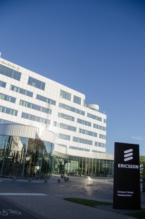 ericsson: Stockholm, Sweden - June 29 2017. A view of one of the buildings used by the multinational networking and telecommunications equipment and services company Ericsson as their headquarters in Kista, a northern suburb to Stockholm.