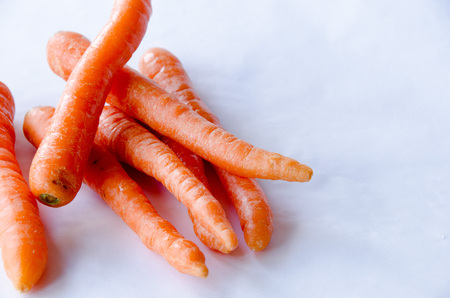 Carrots in group on white background