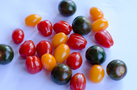 A variety of tomatoes in group on white background Stockfoto