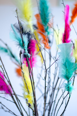 Traditional easter decoration made with twigs with colorful feathers on them Stockfoto - 120294489