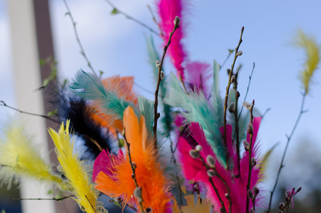 Traditional easter decoration made with twigs with colorful feathers on them with blue sky as background Stockfoto - 122873595