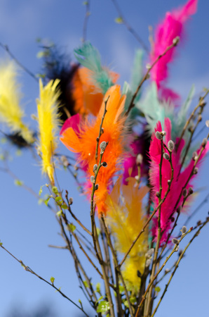 Traditional easter decoration made with twigs with colorful feathers on them with blue sky as background Stockfoto - 122873599