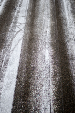 Snowy roads seen from above during day in late wintertime
