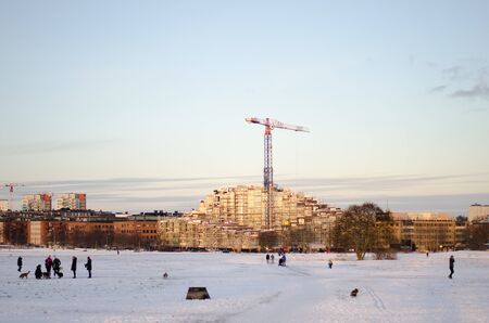 Stockholm, Sweden - 20 January 2018. A building site at the other side of Gardet, Stockholm during winter.