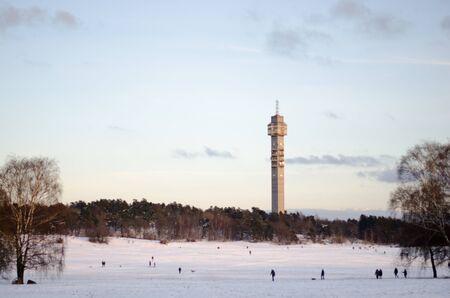 Stockholm, Sweden - 20 January 2018. The tv tower named Kaknastornet in a snowy Gardet, Stockholm in late january.