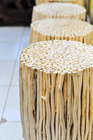 wooden chair: Handmade Wooden Chair Made From Small Branches Stock Photo