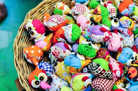 key chain: Small Key Chain Frog And Owl Handmade Doll