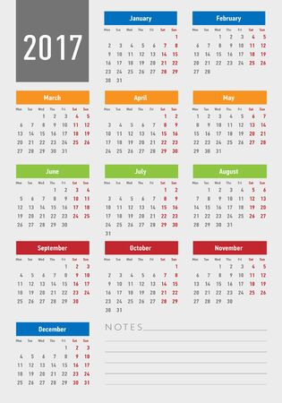 thursday: 2017 year calendar simple style. Vector template Illustration