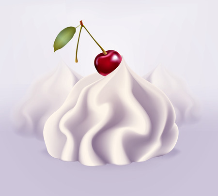 sweet sauce: Whipped cream, vector illustration