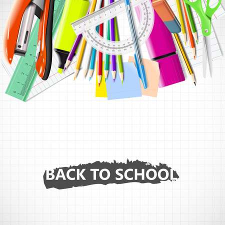 vibrant colors: Back to school background with chalkboard and supplies. Stationery equipment. Vector realistic illustration