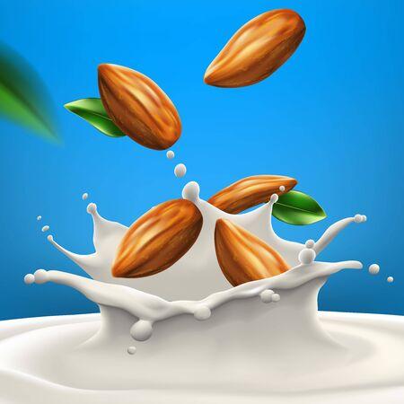 Almond milk big splash High quality vector realistic illustration Ilustração