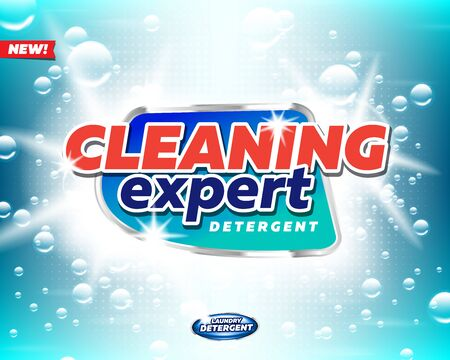 Cleaning expert laundry detergent product logo template. Best for label production, packaging and advertising design uses.