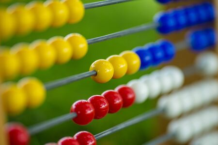 Abacus closeup on colorful pearls Stockfoto