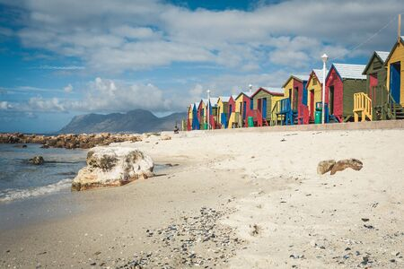 colorful houses on beach at Muizenberg on the Cape Peninsula near Cape Town, South Africa.