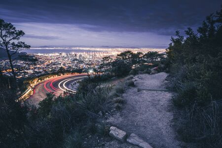 view at capetown at night from table mountain, longtime exposure of road
