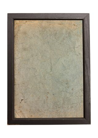 gold picture frame: Old paper texture background in wooden frame