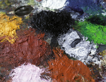 paint palette: oil paint palette background Stock Photo
