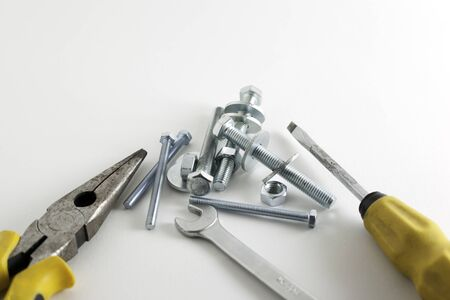 Hand tools on a white background photo