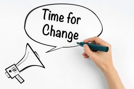 Time for Change. Megaphone and text on a white background Stock Photo