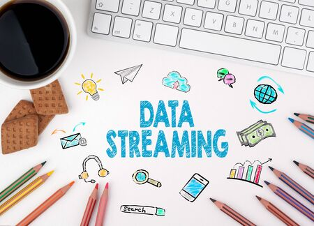 streaming: Data Streaming, Business concept. White office desk