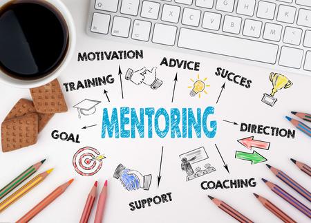 Concepto de mentoría. Escritorio de oficina blanco Foto de archivo