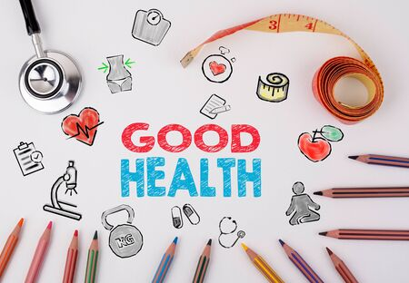 healty lifestyle: Good Health concept. Healty lifestyle background. Stethoscope, pencils and tape measure on the table