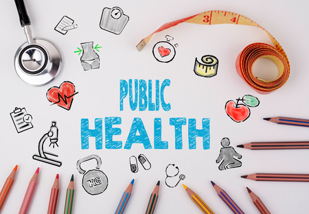 healty lifestyle: Public Health concept. Healty lifestyle background on a white table Stock Photo