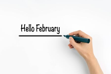 hi end: Hand writing Hello February with marker, concept background.