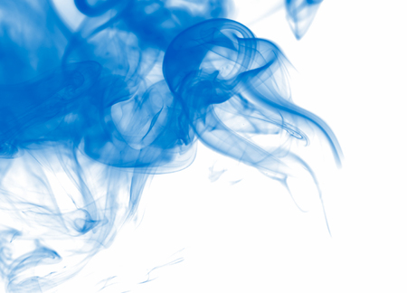 Blue smoke on a white, bright abstract background. Stock fotó