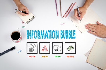 Information Bubble Concept. The meeting at the white office table.