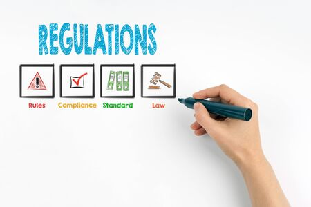 regulate: Hand with marker writing Regulations, business concept.