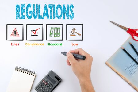 regulate: Regulations. Hand holding a black marker on white with copy space.